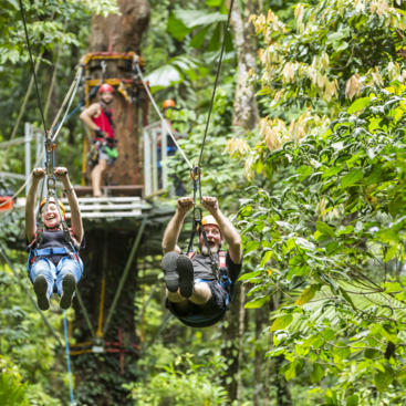 Side by side racing ziplines on Jungle Surfing
