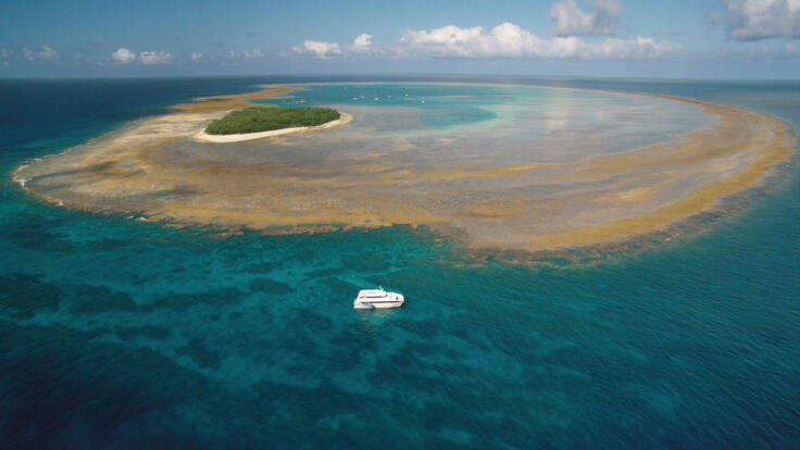 Lady Musgrave Island Aerial View - Boats Anchored in Lagoon