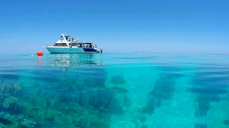Private Charter Boat at Anchor on the Great Barrier Reef off Townsville