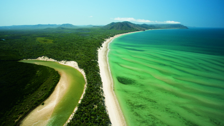 Aerial views of Daintree Coastline and the Great Barrier Reef