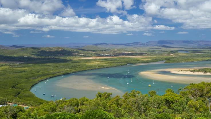 View of the Endeavour River from Grassy Hill Lookout in Cooktown