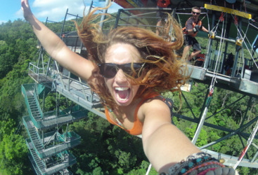 Bunjy jump from the 50 meter tower in Cairns, Tropical North Queensland