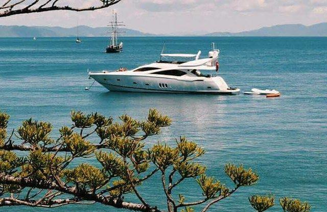 Luxury charter yacht at anchor around Hamilton Island on the Great Barrier Reef in Australia