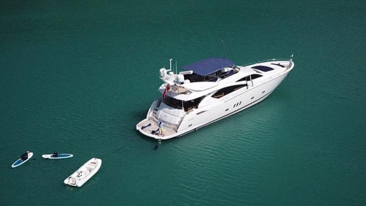Luxury private charter yacht at anchor on the Great Barrier Reef in Australia