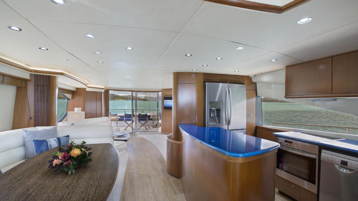 Air-conditioned saloon and galley on board your luxury vessel.