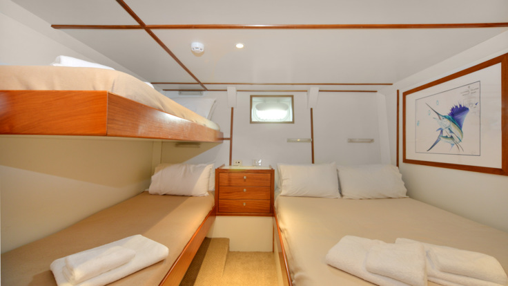 Guest accommodation on private charter boat