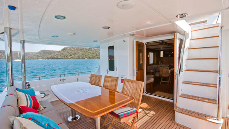 Aft deck luxury motor cruiser Great Barrier Reef Australia