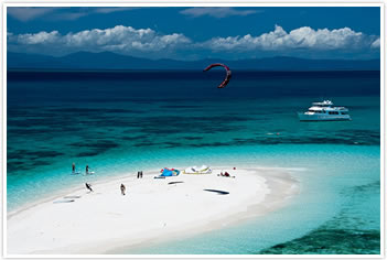 Kite Surfing on a remote coral cay on the Great Barrier Reef
