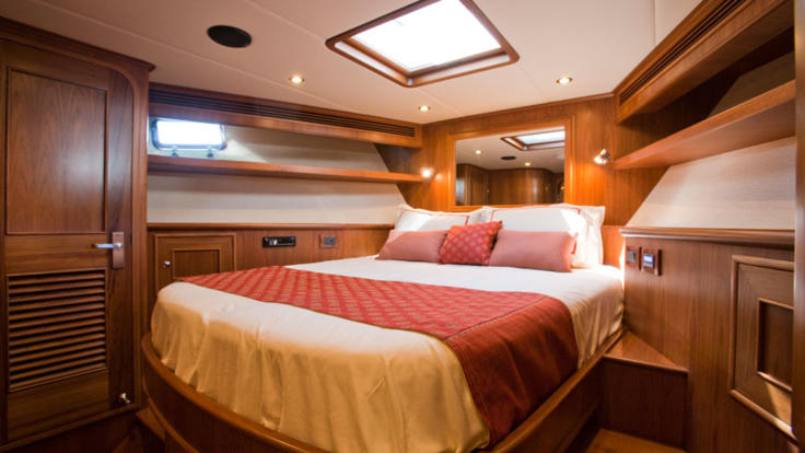 Double cabin with hatch on private charter boat - Great Barrier Reef