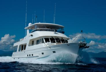 Exterior of luxury private charter boat on the Great Barrier Reef