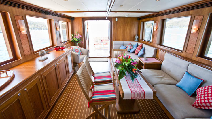 Spacious galley on private charter yacht - Cairns Great Barrier Reef