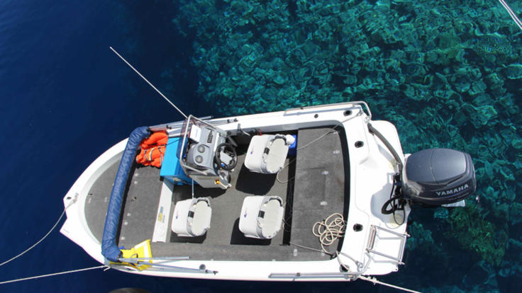 The fishing tender for Whitsundays private charter yacht - Great Barrier Reef Australia