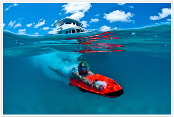 Try the Seabob just some of our water toys on our private charter yacht in Cairns