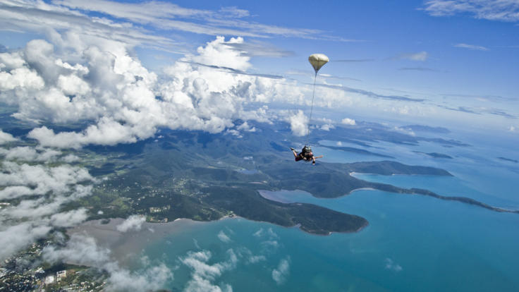 Skydiving over Airlie Beach, Whitsundays