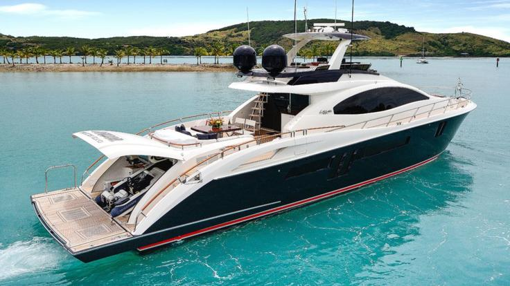 Luxury motor yacht underway to the Great Barrier Reef in Australia