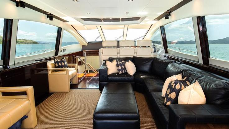 Saloon on our luxury Hamilton Island charter boat