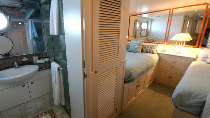 Ensuite bathroom on your private charter yacht, Port Douglas