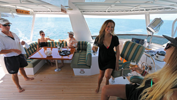 Lots of space onboard the private charter yacht for guests to enjoy themselves