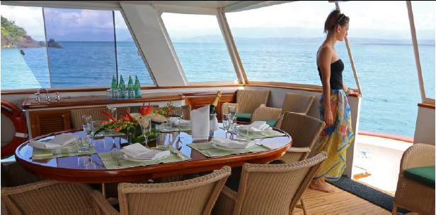 Lunch with an amazing view from your luxury private charter yacht, Great Barrier Reef