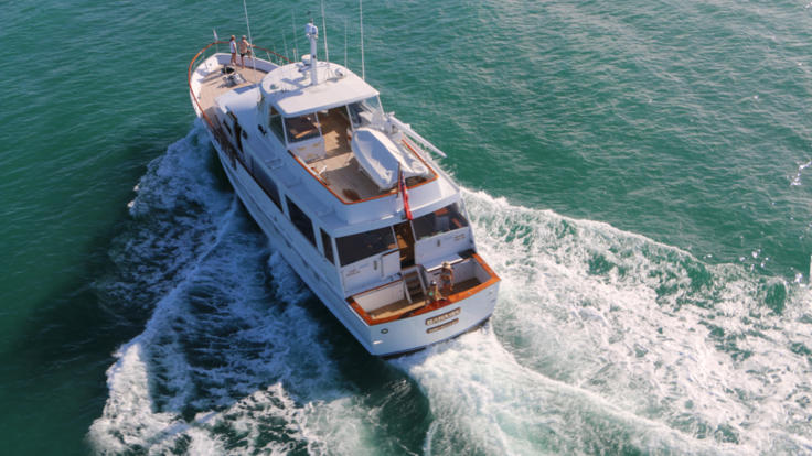 Luxury charter boat cruising on the Great Barrier Reef from Port Douglas