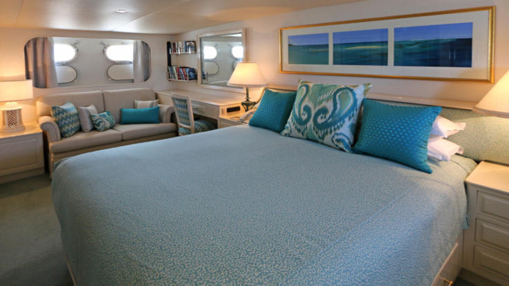 Interior view of double cabin onboard luxury private charter yacht - Port Douglas