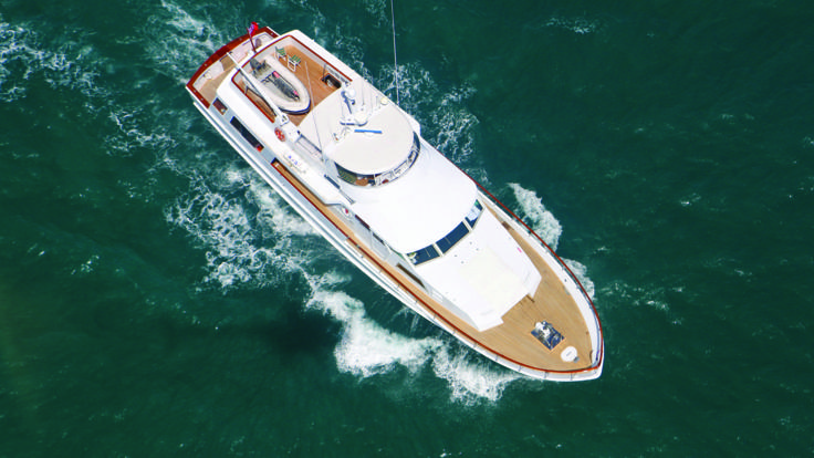 Aerial view of Super Yacht on the Great Barrier Reef in Australia