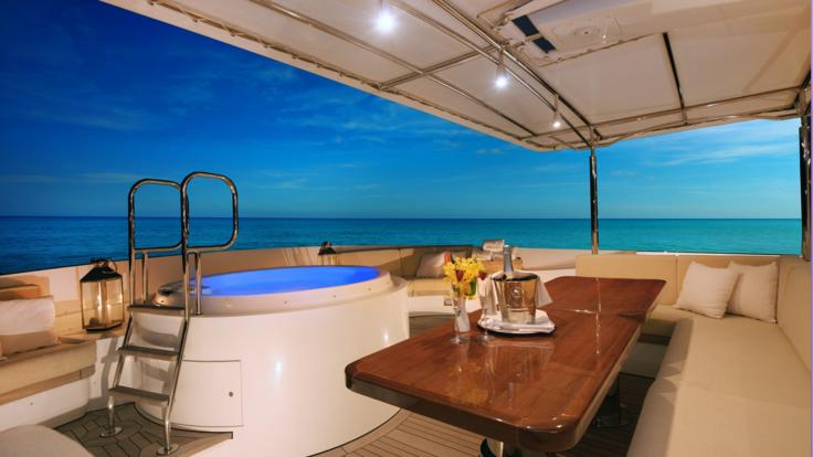 Jacuzzi onboard this luxury Superyacht on the Great Barrier Reef
