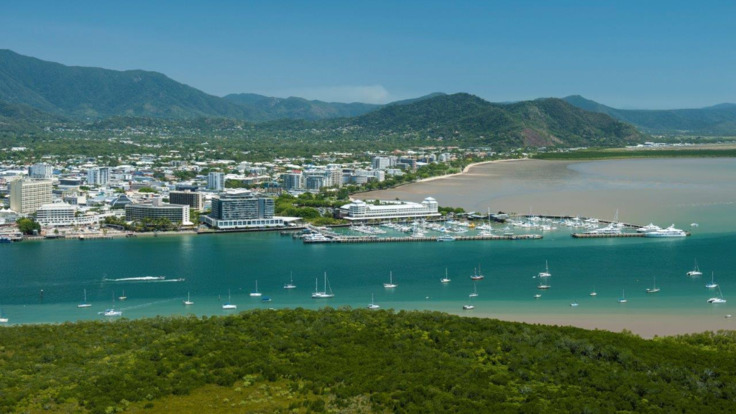 Aerial view over Trinity Inlet and Cairns city