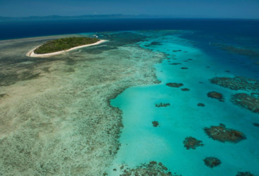 Aerial view of Green Island and the Great Barrier Reef