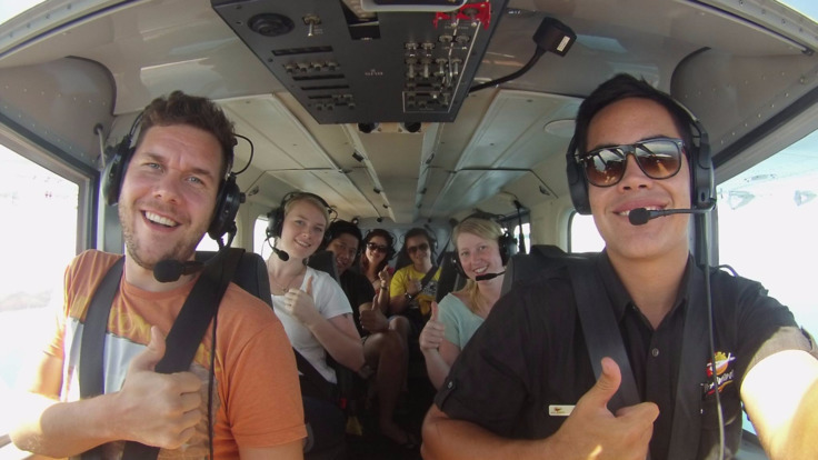 Enjoying a 40-minute scenic flight over the Great Barrier Reef