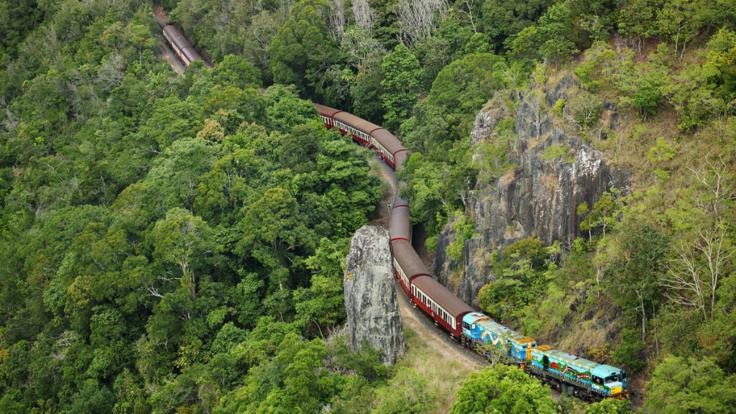 Aerial view of Kuranda train winding around the mountains