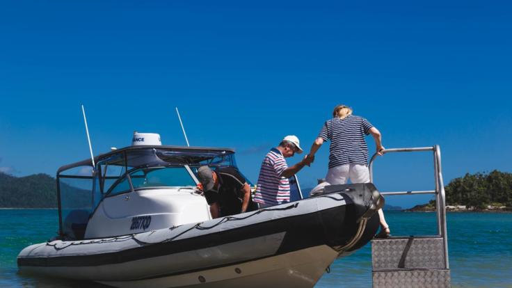 Steps available to assist with getting on & off your private charter boat in the Whitsundays