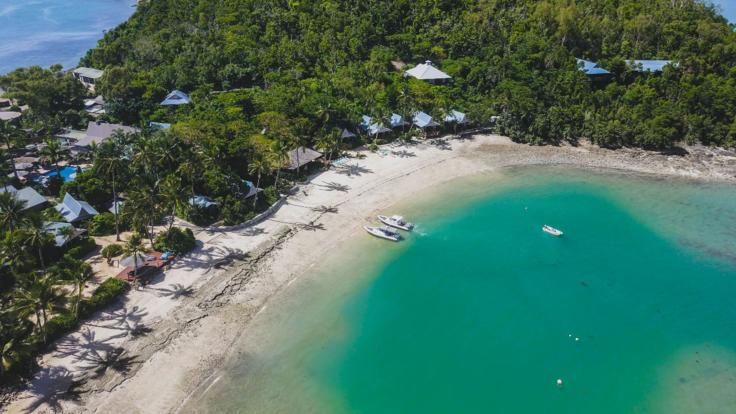 Aerial shot of Whitsunday charter boat