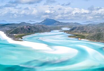 Trek up to Hill Inlet to See the sands of Whitehaven Beach in the Whitsunday Islands on the Great Barrier Reef