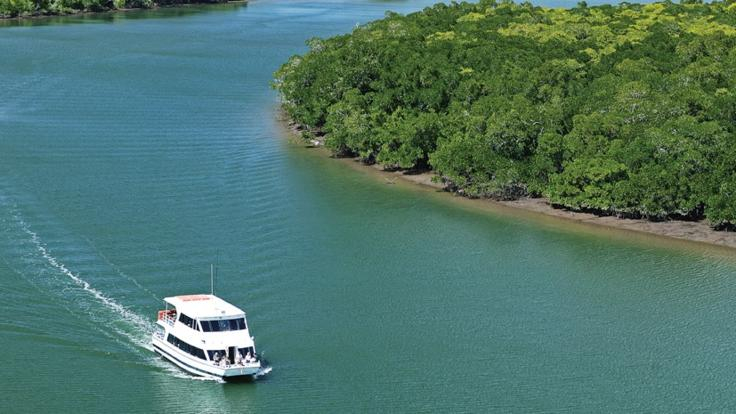 Cruising beautiful Cairns Inlet, private charter sunset cruise
