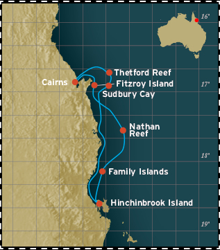 3 Night Great Barrier Reef Cruise Map