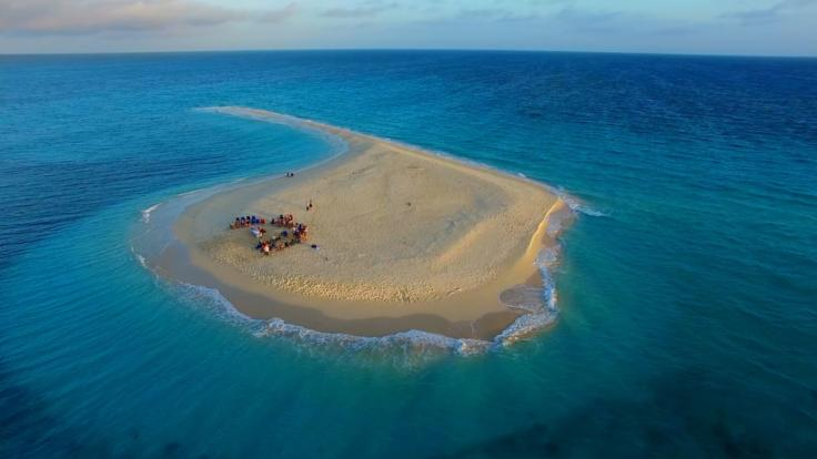Aerial view of remote sand cay on the Great Barrier Reef in Australia