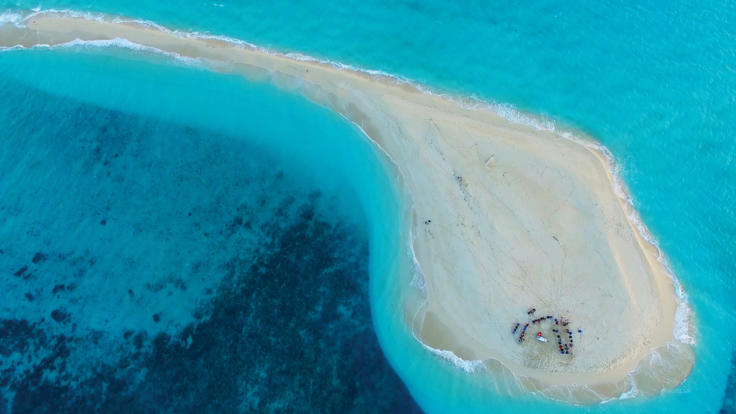 Aerial view of Sudbury Cay on the Great Barrier Reef in Australia