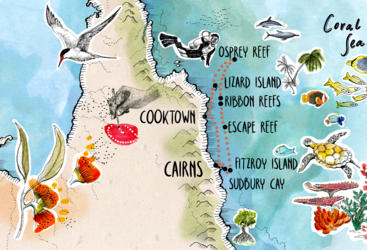 Barrier Reef Australia: Cruise Ship Charter Course Map