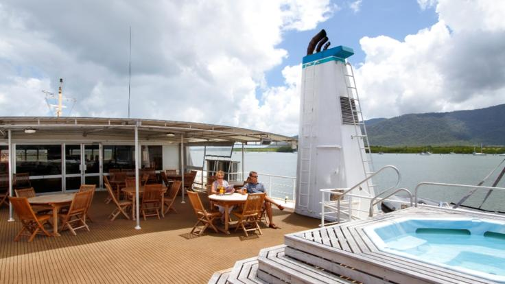 Relax on the upper deck to admire the views of the Great Barrier Reef
