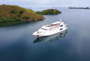 Cruise Ship Tours on the Great Barrier Reef - Aerial View of Cruise Ship