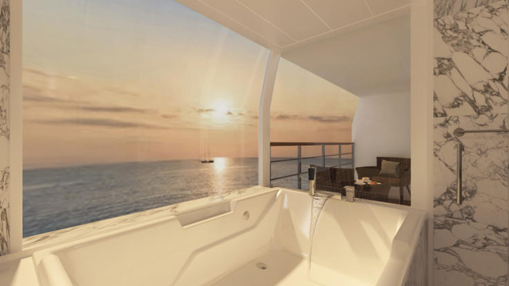 Bask in your ocean view spa bath on this 12 night cruise