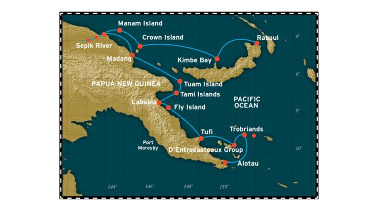 Cairns to Papua New Guinea 12 Day Cruise Map