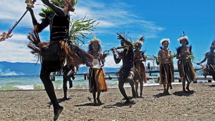 Experience welcomes by the villagers in costume and tribal dancing