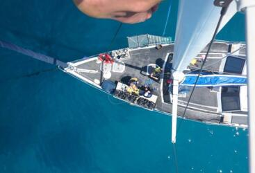 Cairns Dive Tours - Aerial shot of Dive Boat on the Great Barrier Reef