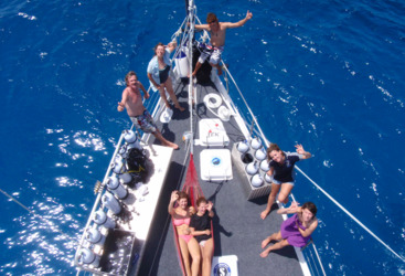 Relaxing on the deck of your luxury yacht, Great Barrier Reef