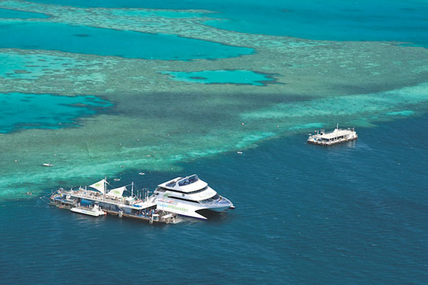 Aerial view of the Reef Sleep Great Barrier Reef pontoon Whitsundays