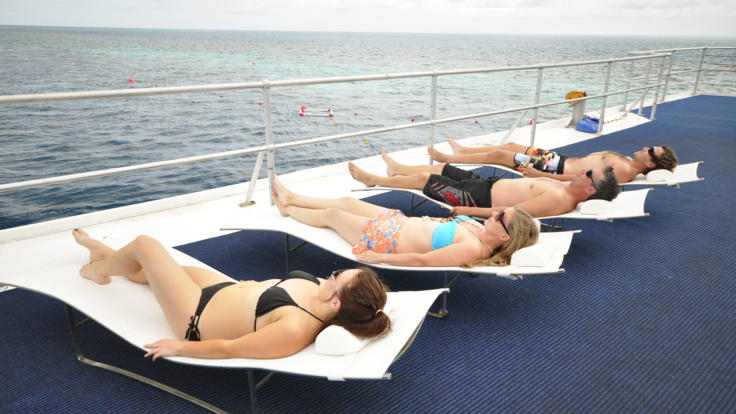 Sunbathing on the Great Barrier Reef