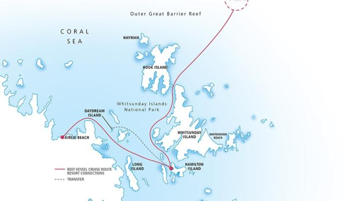 Map of Great Barrier Reef pontoon location on East Coast of Australia