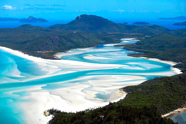 Whitehaven Beach aerial from above